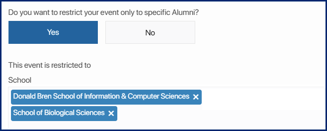 restrict the event to specific alumni